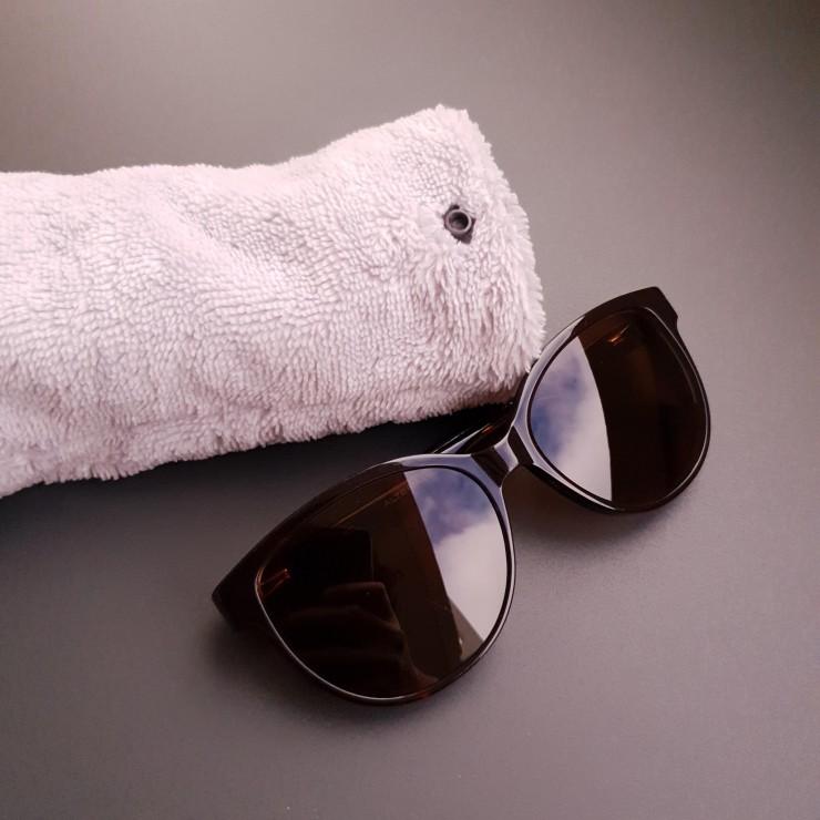 Etui à lunettes - motifs japonais asanoha bleu marine