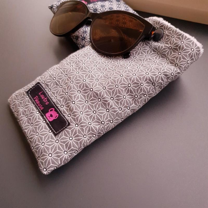Etui à lunettes - motifs japonais asanoha gris