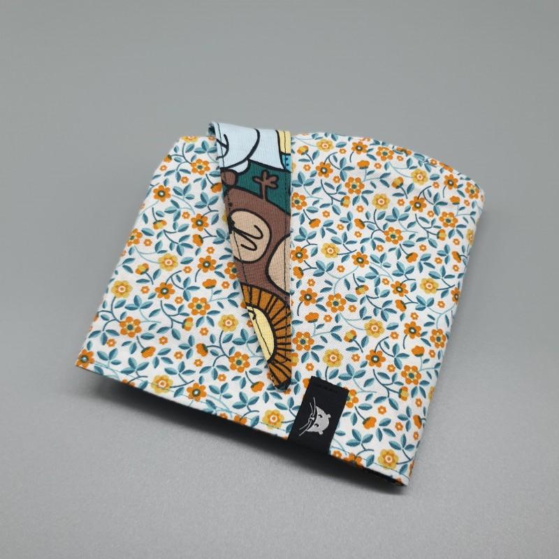 Calot de bloc couvrant réversible - doodle animaux et petites fleurs bleues