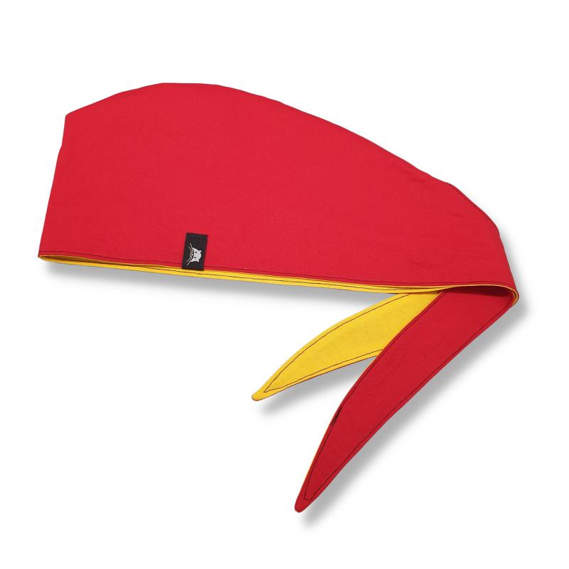 Calot de bloc couvrant réversible - rouge et jaune unis
