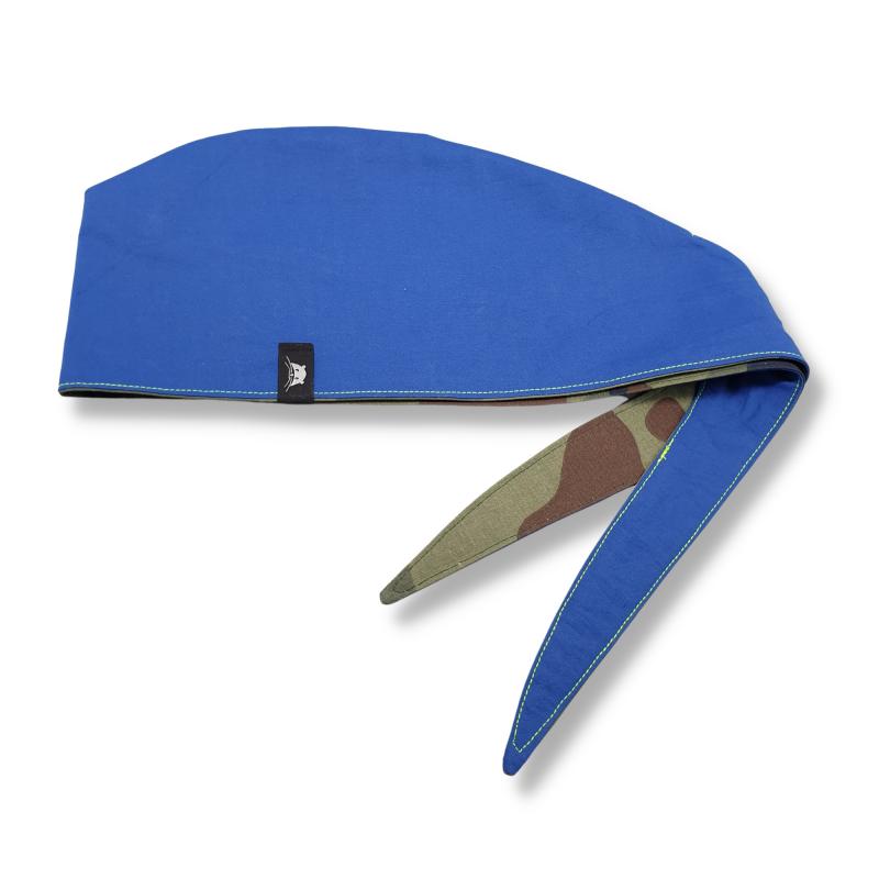 Calot de bloc couvrant réversible - camouflage vert et bleu royal uni