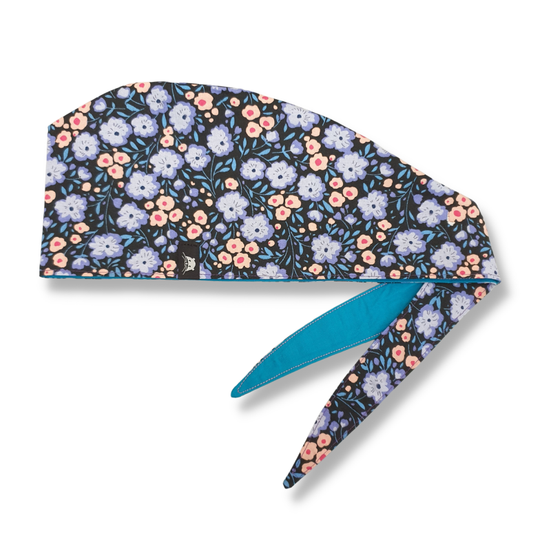 Calot de bloc couvrant réversible - cerisier japon mauve et bleu turquoise uni