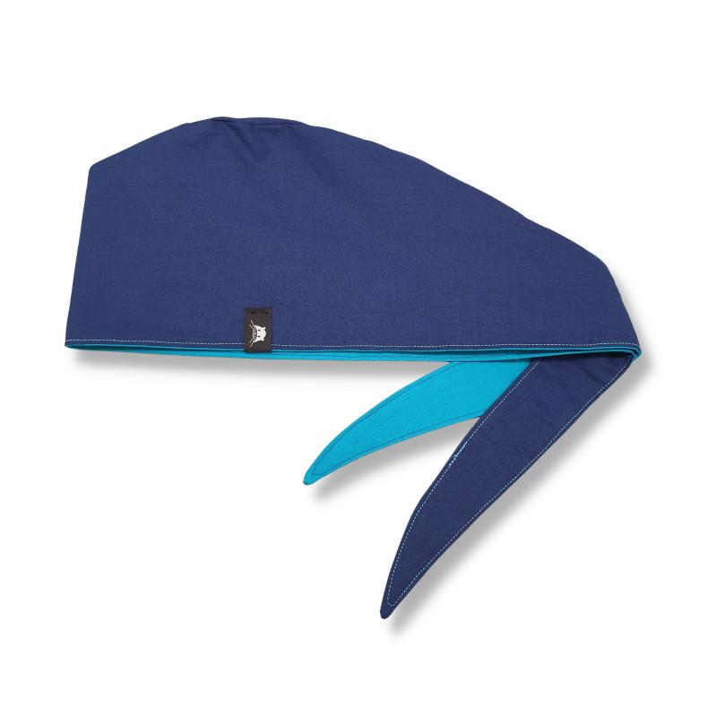 Calot de bloc couvrant réversible - bleu marine et turquoise uni