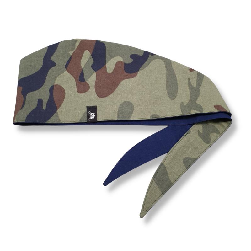 Calot de bloc couvrant réversible - bleu marine et camouflage vert