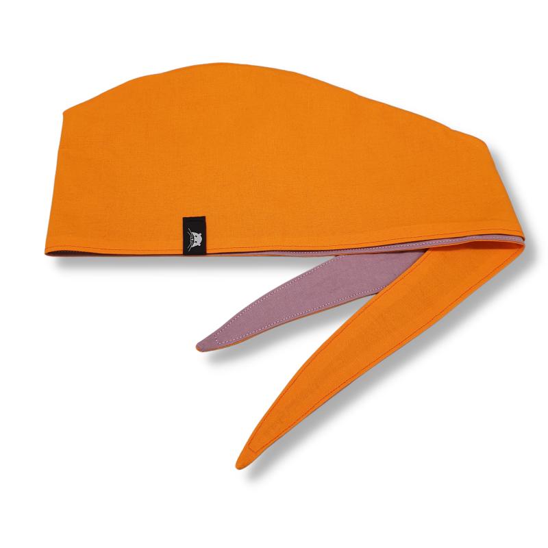 Calot de bloc couvrant réversible - orange et mauve uni