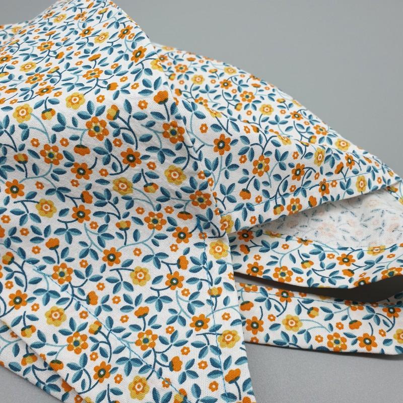 Calot de bloc couvrant - petites fleurs oranges et bleues