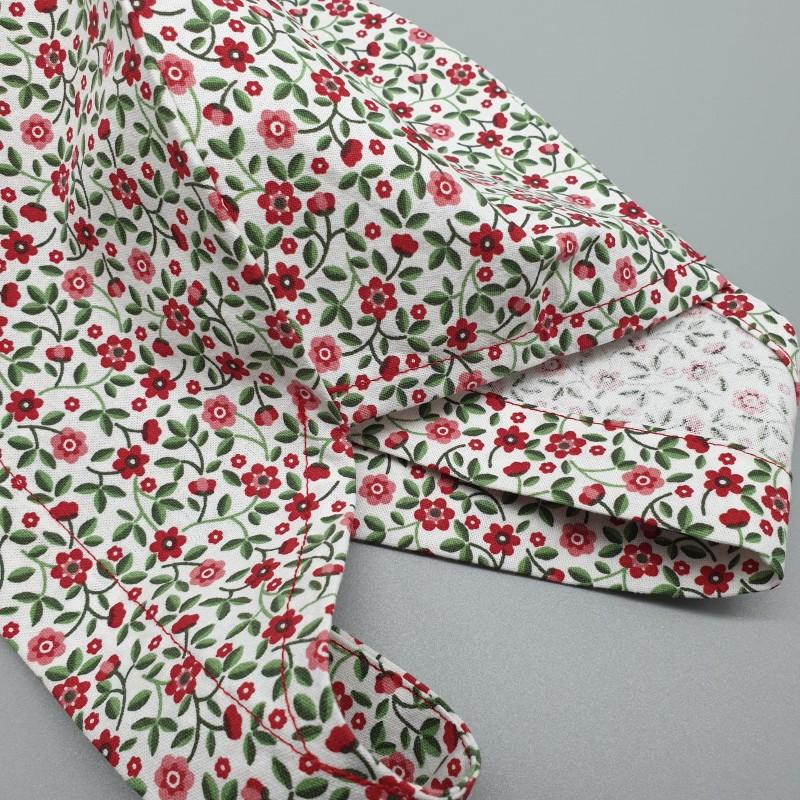 Calot de bloc couvrant - petites fleurs rouges