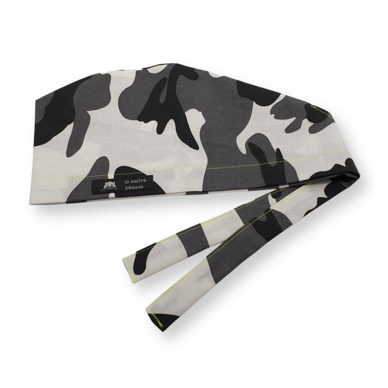 Calot de bloc couvrant - camouflage noir et blanc surpiqûre jaune fluo