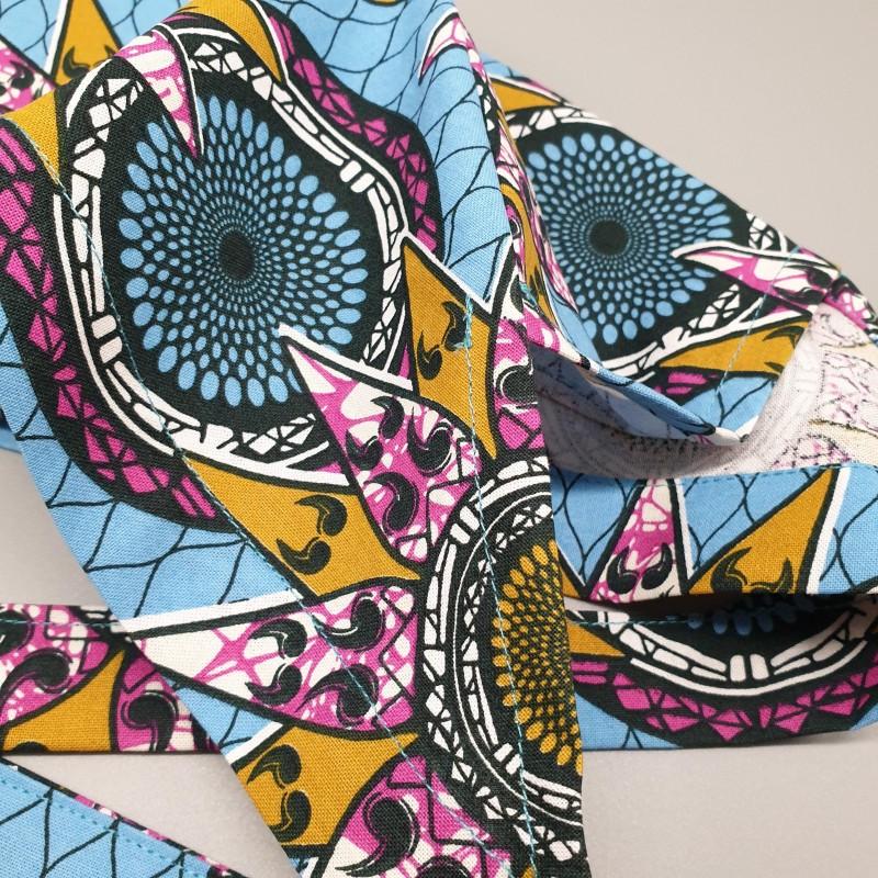 Calot de bloc couvrant - wax étoiles africaines bleues