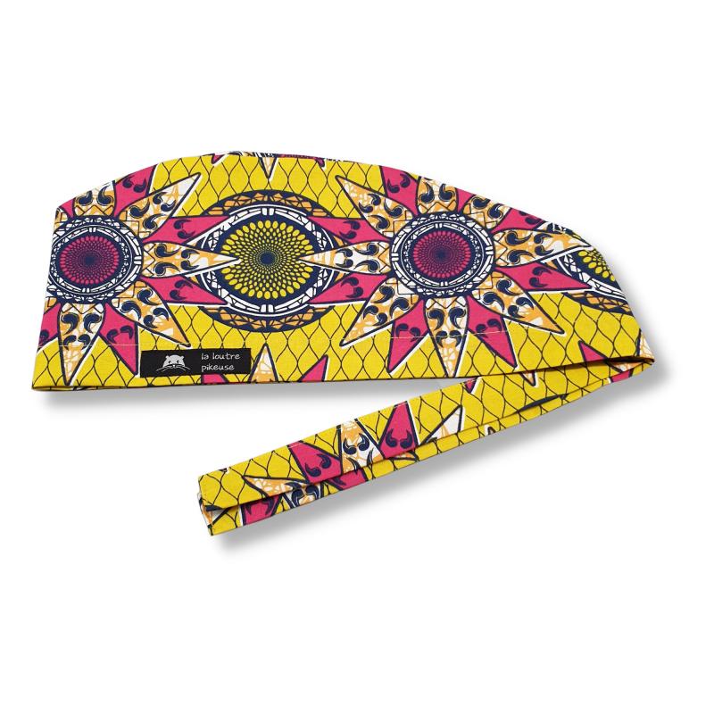 Calot de bloc couvrant - wax étoiles africaines jaunes