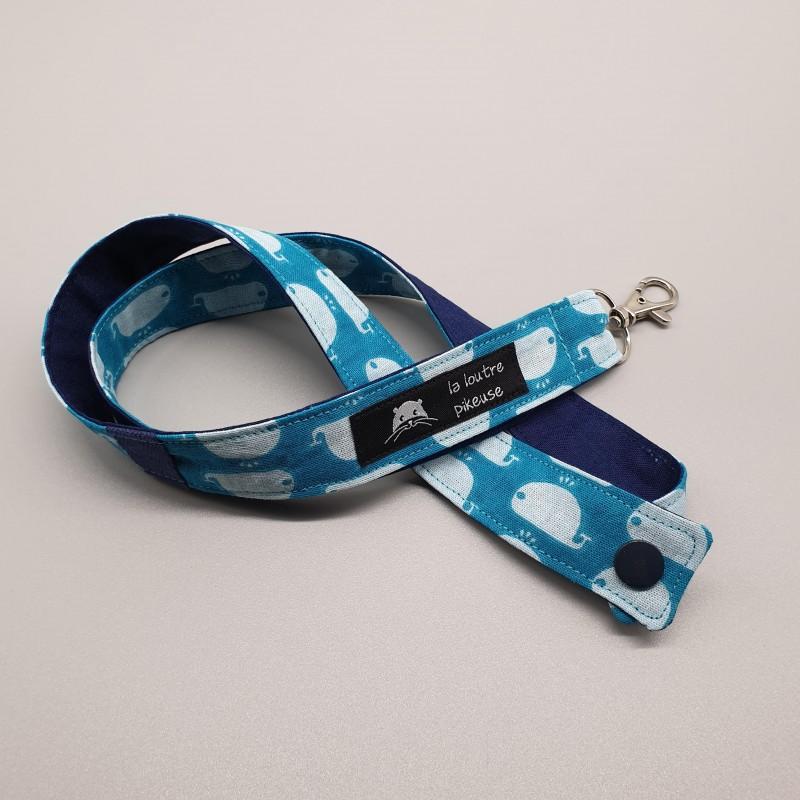 Cordon porte-clés - baleines turquoises et bleu marine uni