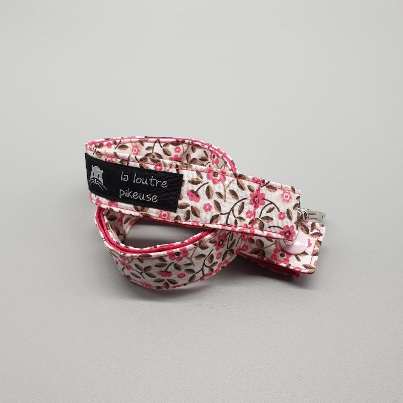 Cordon porte-clé - petites fleurs roses