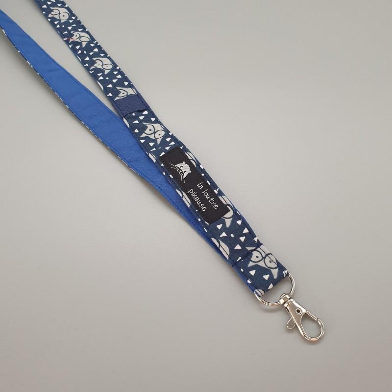 Cordon porte-clés - renards bleus marines