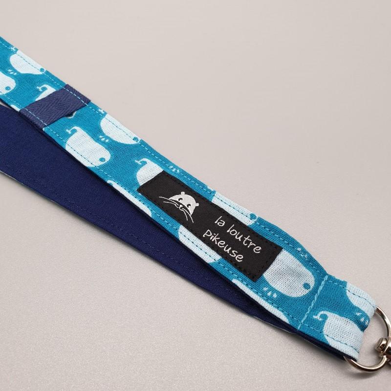 Cordon porte-clé - baleines turquoises et bleu marine uni
