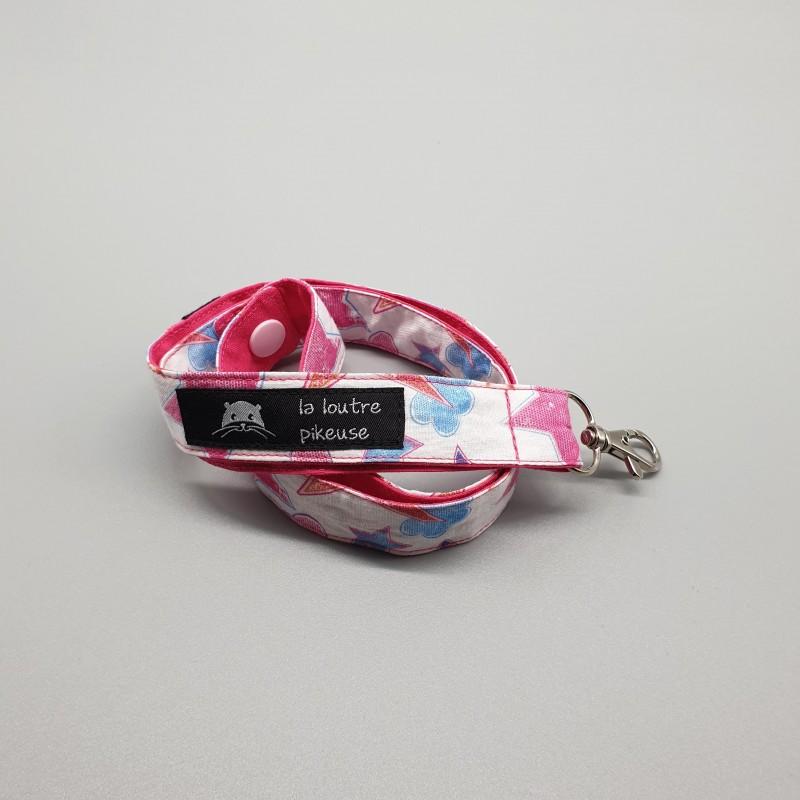 Cordon porte-clés - ciel étoilé rose