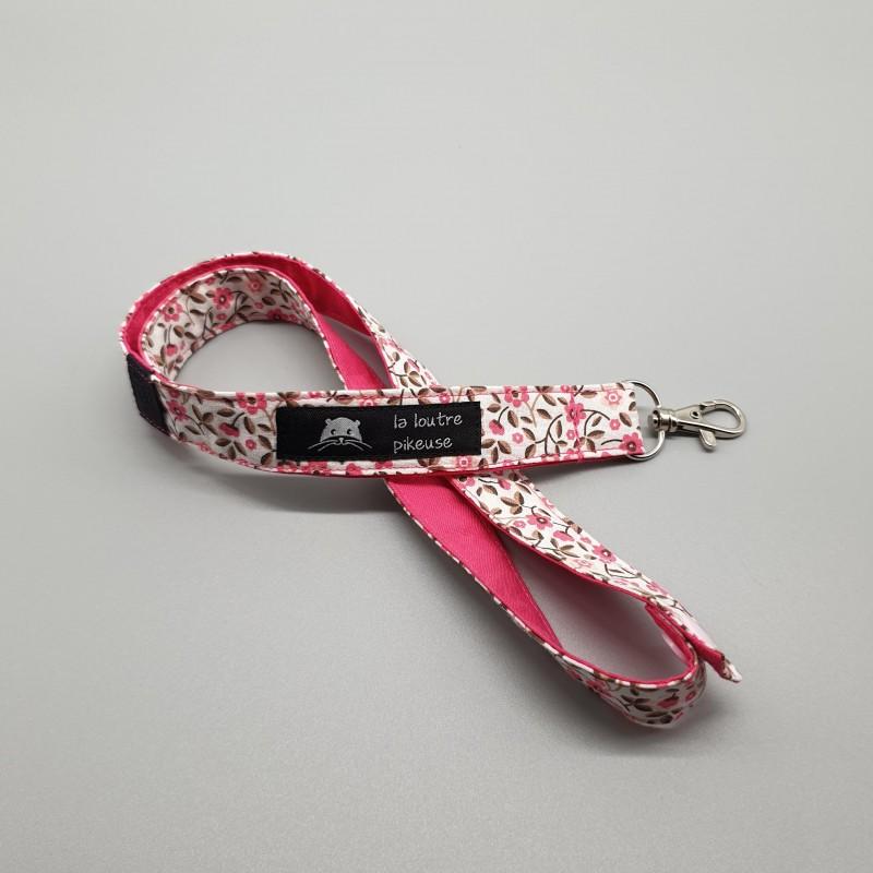 Cordon porte-clés - petites fleurs roses