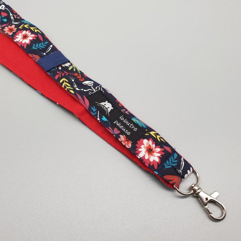 Cordon porte-clés - squelettes et rouge uni