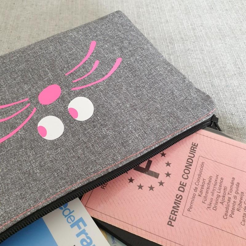 Trousse fourre tout - grise unie et rose fluo - NoopS