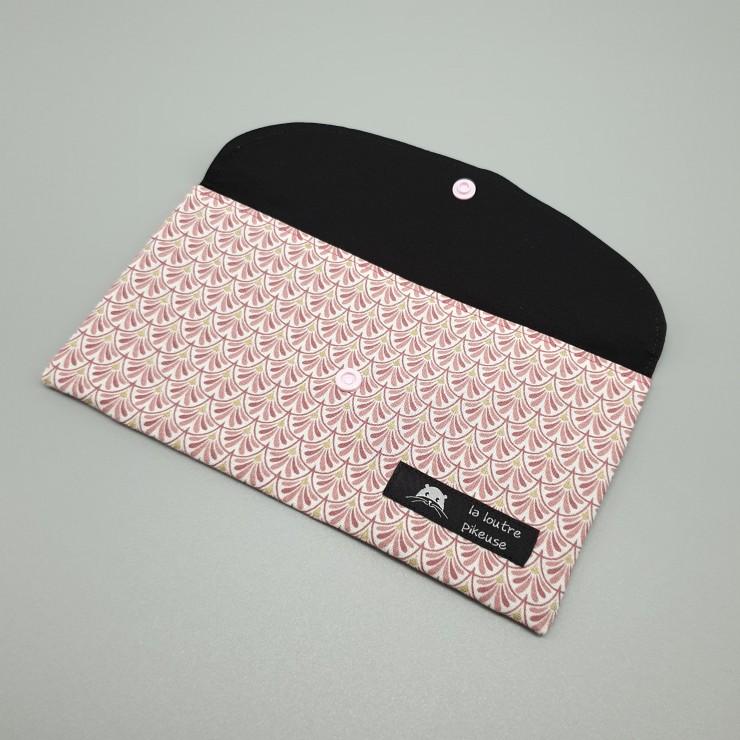 Pochette à masques - éventails roses