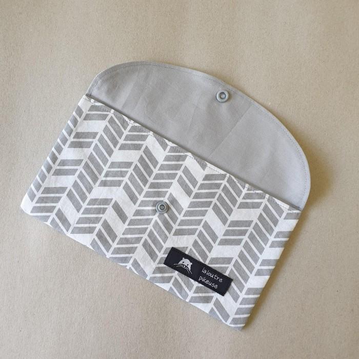 Pochette à masques - gris géométrique