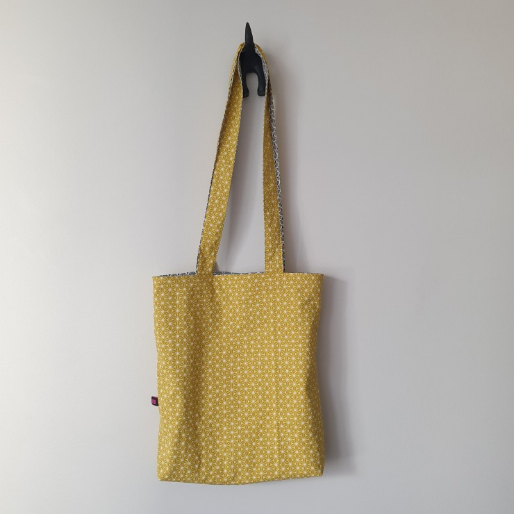 Tot bag réversible - asanoha jaune or et éventails gris